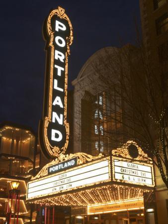 Illuminated Marquee of the Arlene Schnitzer Auditorium, Portland, Oregon, USA by William Sutton
