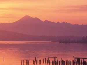 Mt. Baker and Puget Sound at Dawn, Anacortes, Washington, USA by William Sutton