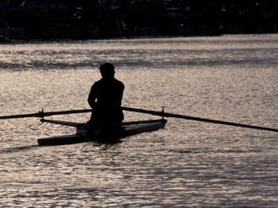 Rower in Portage Bay, Seattle, Washington, USA by William Sutton