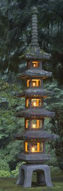 Stone Lantern Illuminated with Candles, Portland Japanese Garden, Oregon, USA by William Sutton