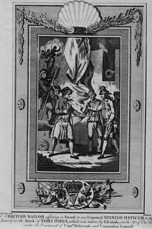 A British Sailor offering a Sword to an unarmed Spanish Officer to defend himself by William Thornton