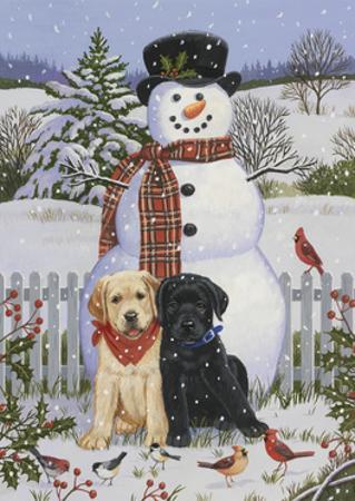 Backyard Snowman with Friends by William Vanderdasson