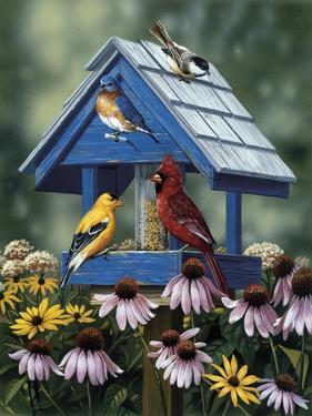 Birdhouse, Birds, Coneflower by William Vanderdasson