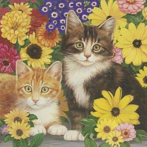 Kitties and Flowers by William Vanderdasson