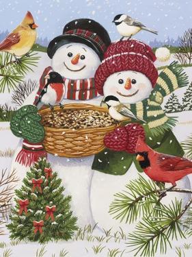 Snow Couple Feeding Birds by William Vanderdasson