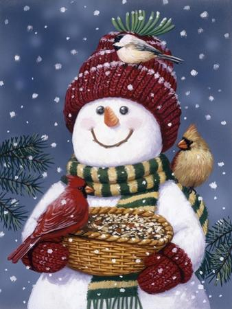 Snowman Feeding Birds by William Vanderdasson