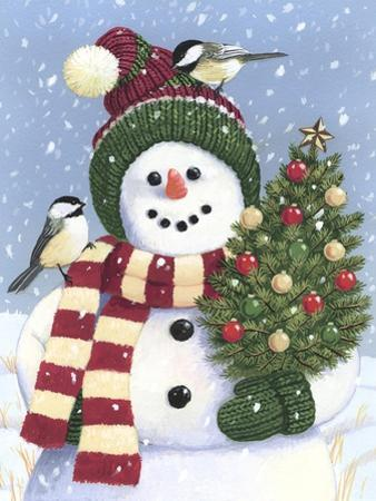Snowman Holding a Christmas Tree by William Vanderdasson