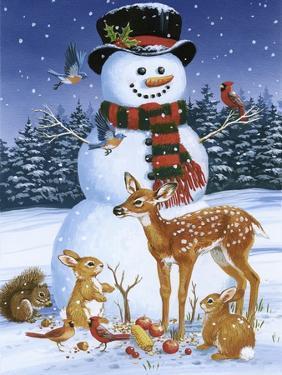 Snowman with Friends by William Vanderdasson