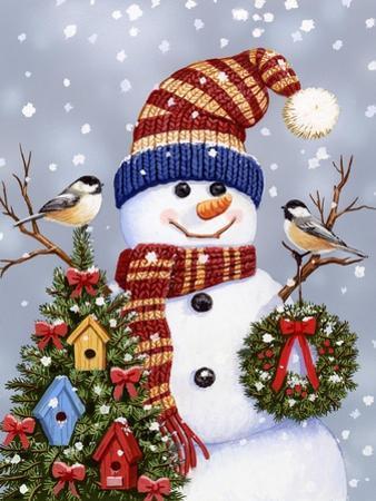 Snowman with Wreath by William Vanderdasson