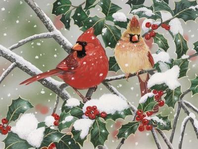 Snowy Perch - Cardinals by William Vanderdasson