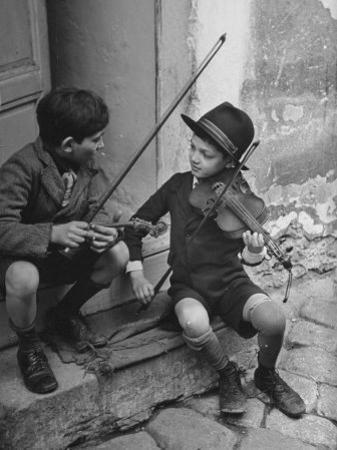 Gypsy Children Playing Violin in Street