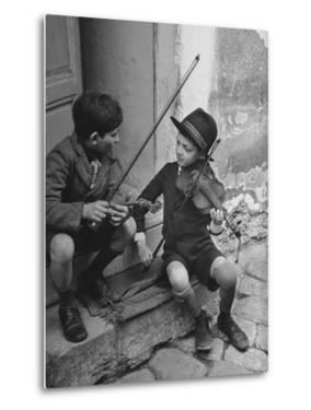 Gypsy Children Playing Violin in Street by William Vandivert