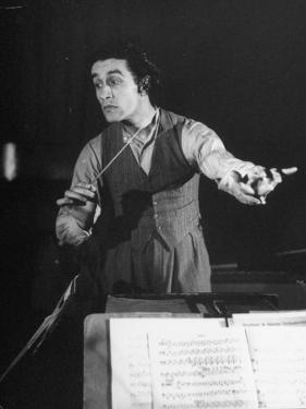 Romanian Conductor Sergiu Celibidache Working with the Berlin Philharmonic by William Vandivert