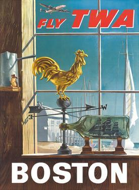 Boston, Massachusetts - Fly TWA (Trans World Airlines) - Ship in a Bottle - Rooster Weathervane by William Ward Beecher