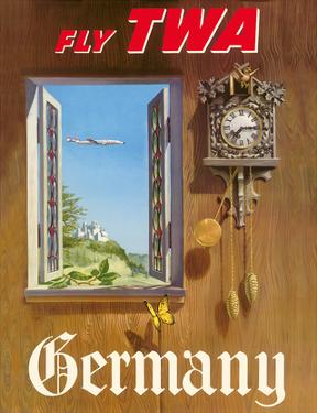 Germany - Fly TWA (Trans World Airlines) - German Black Forest Cuckoo Clock by William Ward Beecher
