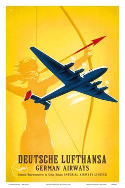 Deutsche Lufthansa German Airways - Female Archer by Willy Hanke