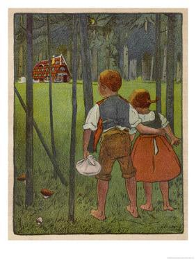 Hansel and Gretel See a Pretty Cottage in the Distance and Think They Might Shelter There by Willy Planck