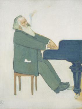 Johannes Brahms at the Piano by Willy von Beckerath
