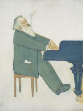 Johannes Brahms at the Piano by Willy von Beckerath