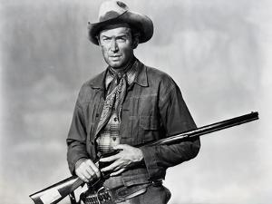 Winchester 73 by AnthonyMann with James Stewart, 1950 (b/w photo)