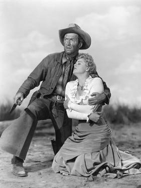 Winchester 73 by AnthonyMann with James Stewart and Shelley winters, 1950 (b/w photo)