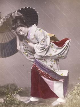 Wind Costume - a Young Japanese Girl in the Rain, C.1890 (Hand Coloured Photograph)