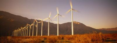 Wind Turbines in a Row, Palm Springs, California, USA