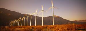 Wind Turbines in a Row, Palm Springs, California, USA