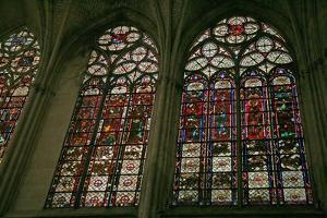 """Window Depicting the North Side of the Choir with the Clerestory """"Band"""" Stained Glass Windows"""