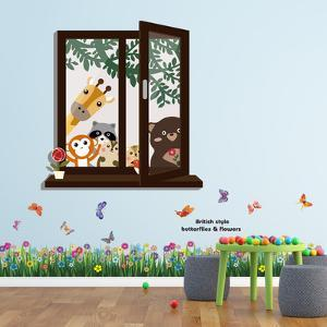Window View of Animal Friends with Colourful Butterfly Grass