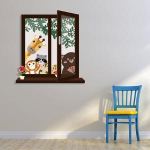 Window View with Animal Friends Kid