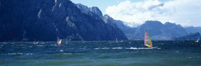 Windsurfing on a Lake, Lake Garda, Italy