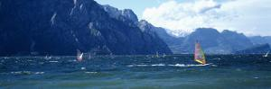 Windsurfing on a Lake, Lake Garda, Italy