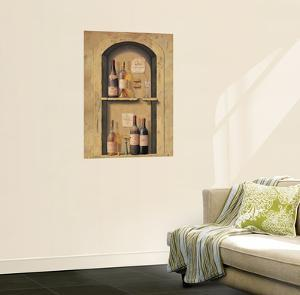 Wine Bottle Niche Wall Accent Mural Art Print Poster