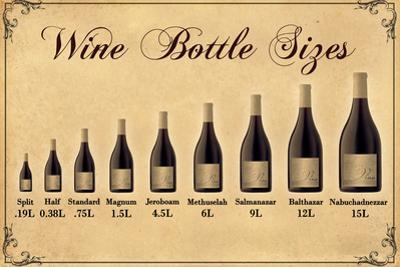 Wine Bottle Size Chart Plastic Sign