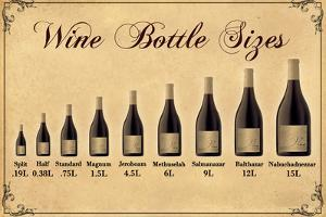 Wine Bottle Size Chart Plastic Sign