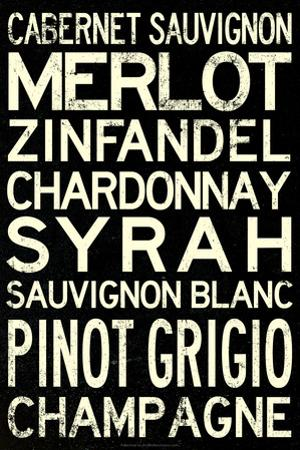 Wine Grape Types Plastic Sign