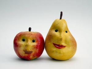 Paper Apple and Pear with Faces by Winfred Evers