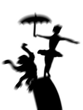 Silhouette of Ballerina Holding Umbrella with Performing Monkey by Winfred Evers