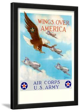 Wings Over America Air Corps U.S. Army WWII War Propaganda Art Print Poster