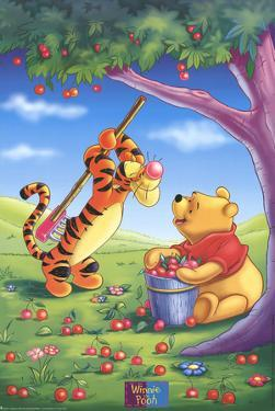 Winnie the Pooh and Tigger Picking Apples