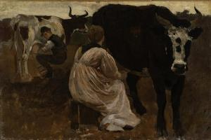 Milking, 1875 by Winslow Homer