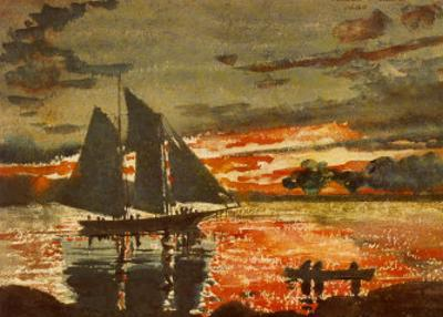 Sunset Fires by Winslow Homer