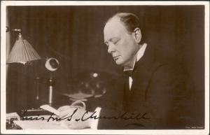 Winston Churchill British Statesman and Author Reading Correspondence at His Desk in 1933
