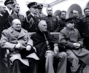 Winston Churchill, Franklin D. Roosevelt and Joseph Stalin at Yalta in 1945.