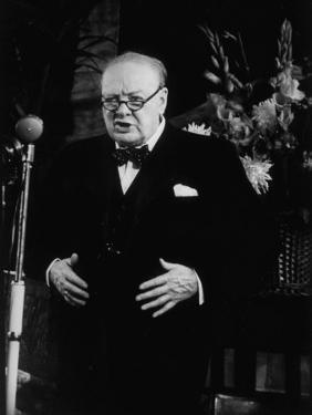 Winston Churchill Giving Speech at Tory Rally During British Election Campaign