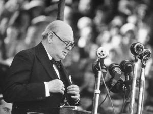 Winston Churchill Speaking at Wolverhampton Football Field