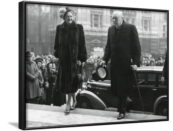 Winston Churchill, with His Wife Clementine Enter St. Paul's Cathedral--Framed Photo