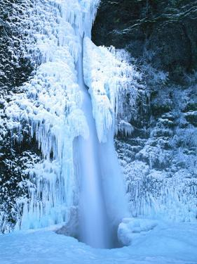 Winter ice hangs on Horsetail Falls, Columbia River Gorge National Scenic Area, Multnomah County...