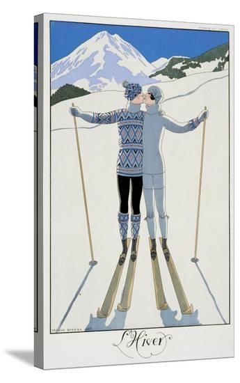 """Winter: Lovers in the Snow, Fashion Plate from """"Twentieth Century France,"""" 1925-Georges Barbier-Stretched Canvas"""